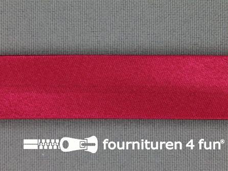 Rol 25 meter satijnen biasband 18mm donker fuchsia