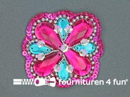 Broche 50mm roze - blauw