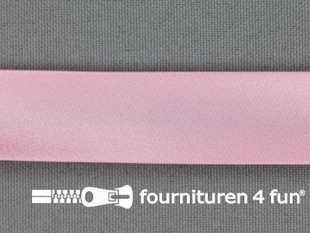 Rol 25 meter satijnen biasband 18mm licht roze
