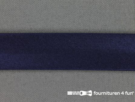 Satijnen biasband 18mm marine blauw