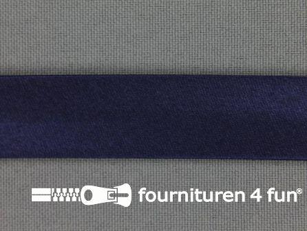 Rol 25 meter satijnen biasband 18mm marine blauw