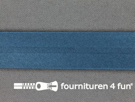Satijnen biasband 18mm petrol blauw