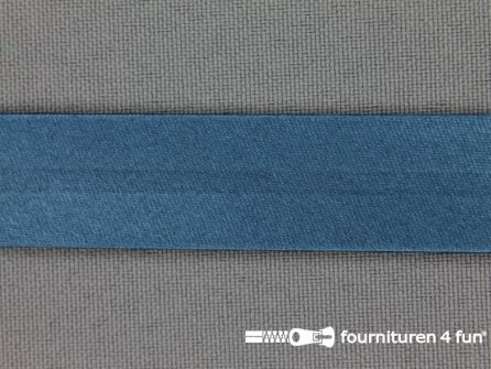 Rol 25 meter satijnen biasband 18mm petrol blauw