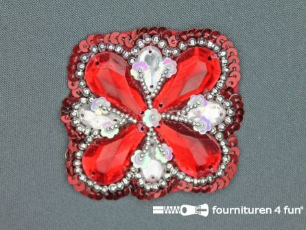 Broche 50mm rood - zilver