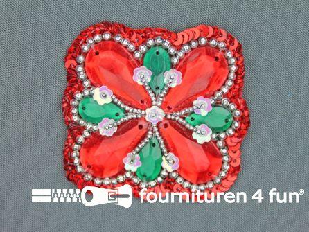 Broche 50mm rood - groen