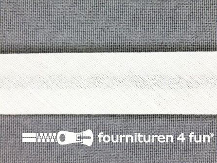 Rol 25 meter katoenen biasband 18mm licht ecru