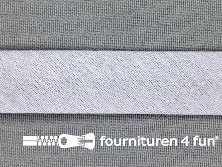Rol 25 meter katoenen biasband 18mm zilver grijs