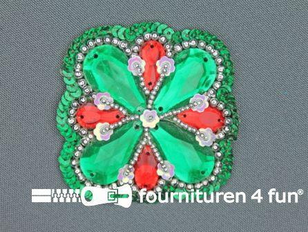 Broche 50mm groen - rood