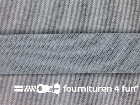 Rol 25 meter katoenen biasband 18mm khaki grijs
