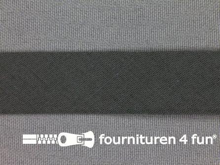 Rol 25 meter katoenen biasband 18mm donker grijs