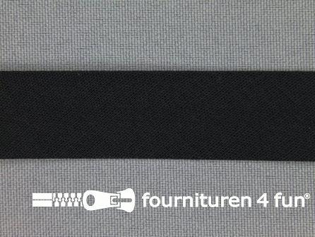 Rol 25 meter katoenen biasband 18mm zwart