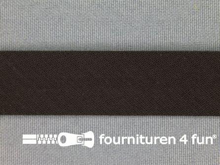 Rol 25 meter katoenen biasband 18mm heel donker bruin