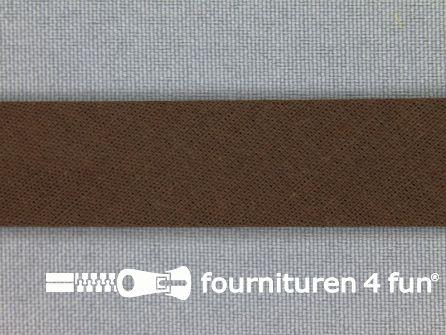 Rol 25 meter katoenen biasband 18mm donker bruin
