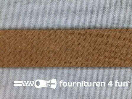 Rol 25 meter katoenen biasband 18mm lever bruin