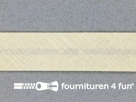 Rol 25 meter katoenen biasband 18mm licht beige