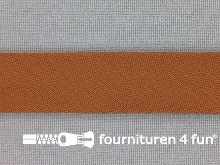 Rol 25 meter katoenen biasband 18mm midden bruin