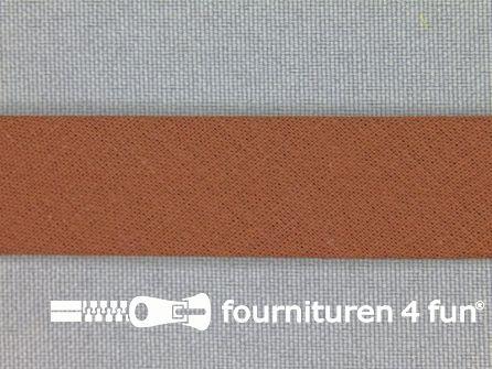 Rol 25 meter katoenen biasband 18mm bruin
