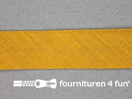 Rol 25 meter katoenen biasband 18mm mosterd geel