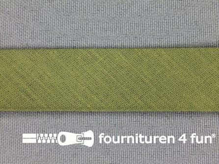 Rol 25 meter katoenen biasband 18mm leger groen