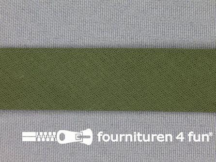 Rol 25 meter katoenen biasband 18mm jagers groen