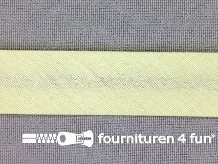 Rol 25 meter katoenen biasband 18mm ecru geel