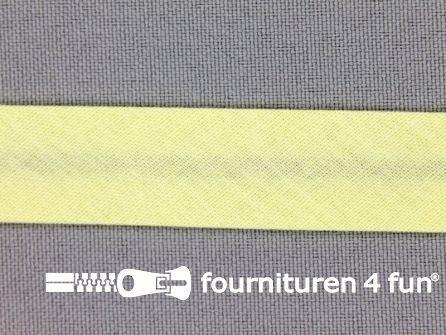 Rol 25 meter katoenen biasband 18mm pastel geel