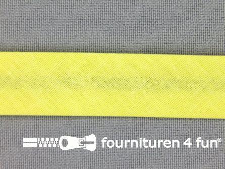 Rol 25 meter katoenen biasband 18mm citroen geel