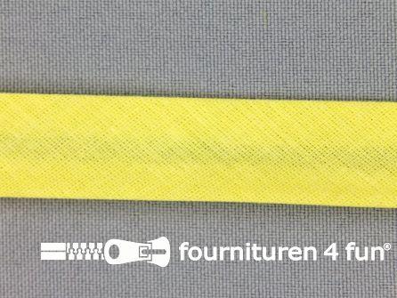 Rol 25 meter katoenen biasband 18mm licht geel