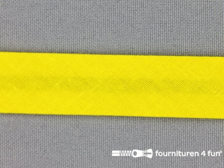 Rol 25 meter katoenen biasband 18mm fel geel