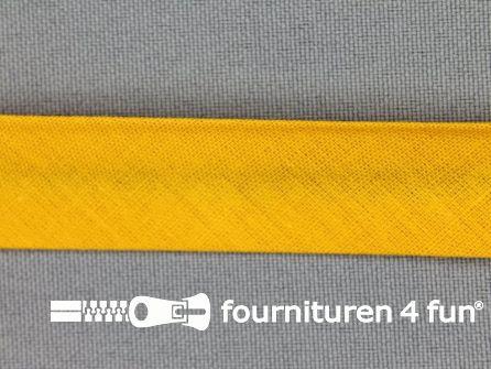 Rol 25 meter katoenen biasband 18mm licht oker geel