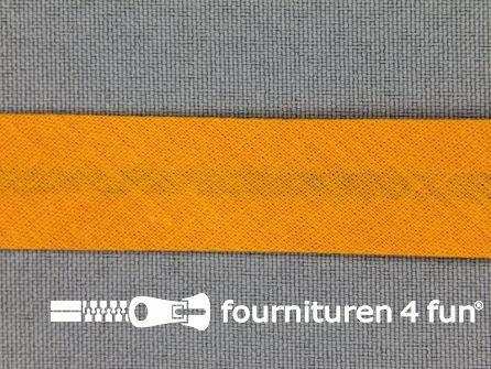 Rol 25 meter katoenen biasband 18mm licht oranje