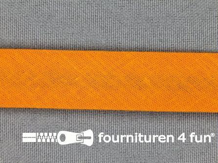 Rol 25 meter katoenen biasband 18mm oranje