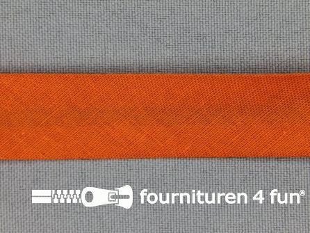 Rol 25 meter katoenen biasband 18mm donker oranje