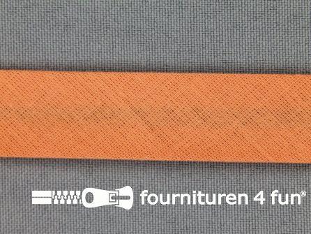 Rol 25 meter katoenen biasband 18mm zalm oranje