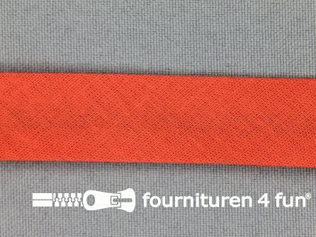 Rol 25 meter katoenen biasband 18mm koraal oranje