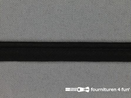 Katoenen paspelband 10mm zwart