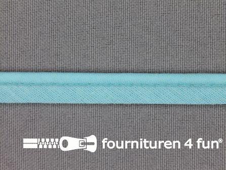 Katoenen paspelband 10mm aqua blauw