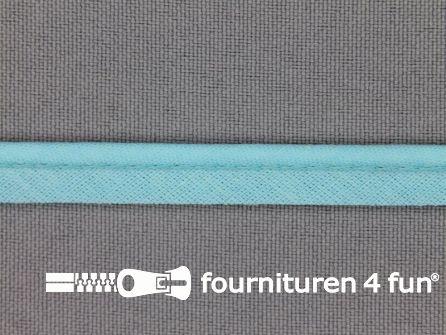 Rol 25 meter katoenen paspelband 10mm aqua blauw