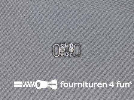Strass stenen gesp 8mm verbindingsstukje zilver