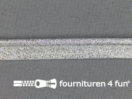 Rol 25 meter lurex paspelband 10mm licht zilver