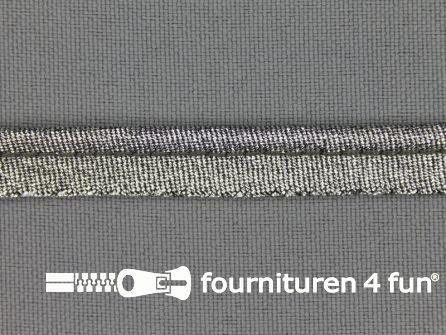 Lurex paspelband 10mm zwart zilver