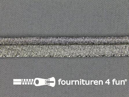 Rol 25 meter lurex paspelband 10mm zwart zilver