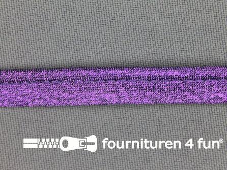 Rol 25 meter lurex paspelband 10mm paars