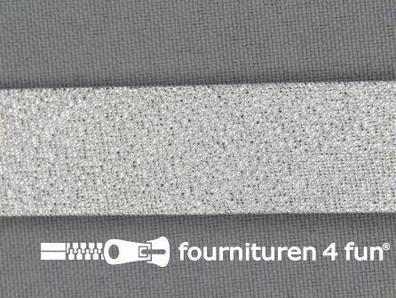 Rol 25 meter lurex biasband 18mm zilver