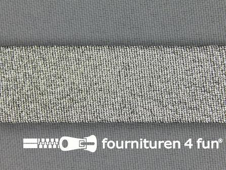 Rol 25 meter lurex biasband 18mm zwart zilver