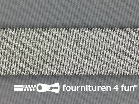 Lurex biasband 18mm zwart zilver