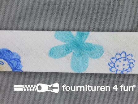 Print biasband 2 meter bloemen wit - blauw - lila