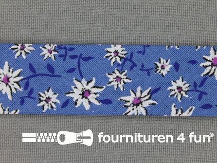 Print biasband 2 meter bloemen blauw