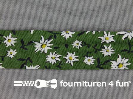 Print biasband 2 meter bloemen groen