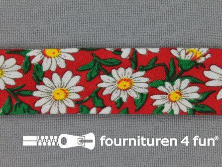 Print biasband 2 meter bloemen rood